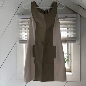 Kensie white and tan sheath dress with pockets